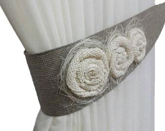 Burlap tie backs, Rustic tiebacks, Tie backs, Cottage chic, Curtain decor, Burlap decor, Flower tiebacks, Curtain tiebacks, Gray decor