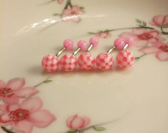 Belly ring belly button ring navel ring 14G belly ring stainless steel belly ring body jewelry checkered belly ring pink belly ring