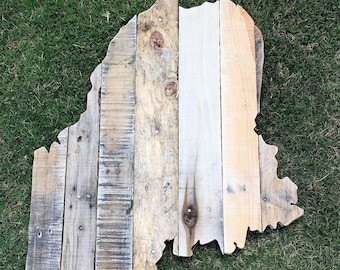 Reclaimed Wood Maine State Sign