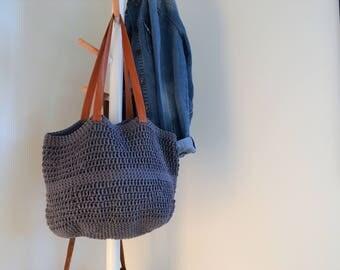 Large Crochet Shoulder Bag -Market Bag with leather look handles