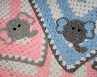 Elephant Crocheted Baby Blanket/ Boy or Girl/Granny Square