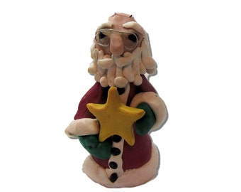Polymer clay Santa Ornament - Father Christmas Style Santa -Star holding a star