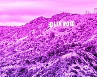 HOLLYWOOD Sign Print on Canvas, Pink and Purple Ombre Photo, California Photography, Gallery Wrapped Canvas Wall Art
