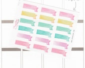 Edge, side flag, planner stickers, blank, banner, ribbon, hand painted, watercolor, sticker set, task, to do, decoration, FLG1