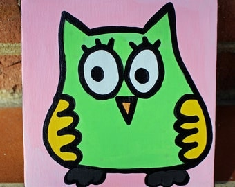 Green Owl Minipop 6x6 Painting by Jelene