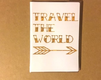 passport cover - Travel the World - luxe white with gold sparkle - modern arrow - passport holder case - travel vacation