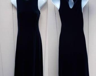 Vintage 90s Dark Blue Stretch Knit Maxi A-Line Dress by Jalate // Almost Racerback Grunge Full Length Long Dress // Sz Sml - Med