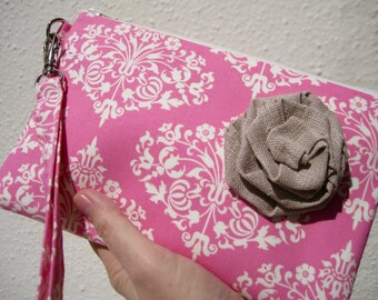 Wedding Clutch 2 pockets,medium,yellow,damask,discount plan set, wristlet, cotton,- Park fountains pink