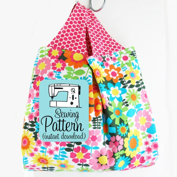 Grocery Bag PDF Sewing Pattern | Sew a reusable machine washable market tote eco shopping bag with this advanced beginner pattern.