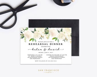Rehearsal Dinner Invitation | Engagement Party Invite, 40th Birthday, Surprise | Printable Invitation | White, Gold | BRYNNE Collection