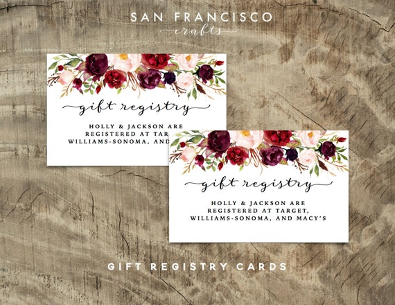 Boardmans Gift Registry Weddings: Gift Registry Insert Or Enclosure Card Printable Wedding
