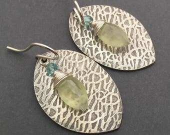 By the Pool, Prehnite, Apatite, Fine Silver, Sterling Silver Gemstone Charm Earrings, erinelizabeth