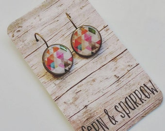 Geometric Triangles Antique Bronze Leverback Resin Earrings