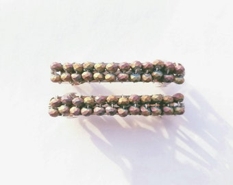 Beaded Barrettes,Two-Toned Red and Gold Handmade, Set of 2