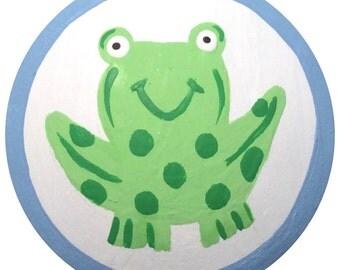 Blue Green Frog Knobs Animal Knobs KIDS Decorative Dresser Knobs Childrens Knobs Furniture Drawer Pulls Knobs Nursery Room Decor
