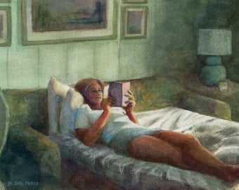 Watercolor Woman Reading a Book in Bed watercolor painting original art DelPesco