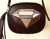 Diamond Mosaic Leather Bag Handmade