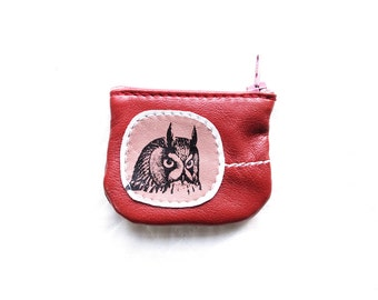 Wee Owl Coin Purse Leather Recycled