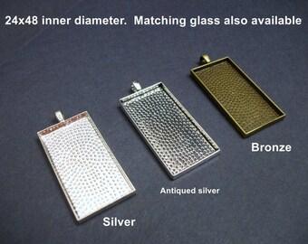 Sale, 5 pcs domino pendant TRAYS ONLY. 25x50, 1 x 2 inch  rectangle bezel for 24x48 glass insert.  1 x 2 inch glaze frame, domino setting