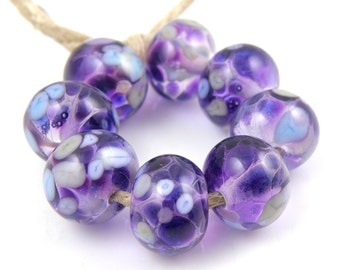 Phloxian - Handmade Artisan Lampwork Glass Beads 8mmx12mm - Purple, Violet, Periwinkle - SRA (Set of 8 Beads)