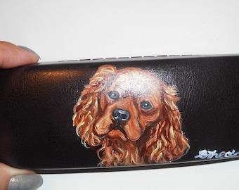 Cavalier King Charles Spaniel Dog  Hand Painted Eyeglass Case Vegan