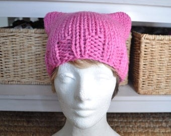 Pussy Hat Project for Women's March on Washington 2017 - Kitty Hat - Light Pink Hat - Ready to Ship