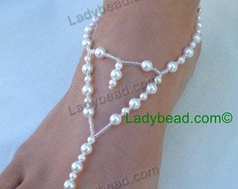 FJ777 Pearl Bridal Sandals White Ladybead Beach Wedding Jewelry USA
