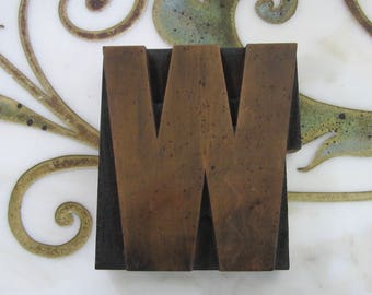 Large Letter W Antique Letterpress Wood Type Printing Block