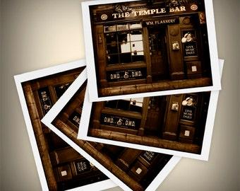 Temple Bar Set of Four Blank Greeting Cards, Pub, Ireland, Dublin, St. Patrick's Day, Mini Art, Size A2