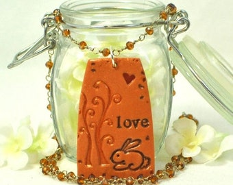 Bunny Rabbit Necklace Love Bun - Bunny Pendant - Rabbit Jewelry - Bunny Rabbit Inspired - Pet Rabbit -Bunny jewerly -Woodland Animal -Nature