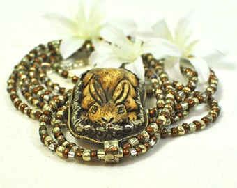 Rabbit Necklace Nibbler - Animal Jewelry - Pet Bunny Rabbit - Bunny Necklace - Woodland Animal - Bunny Jewelry - Statement Necklace - Gift