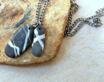 Black and White Beach Stone Necklace - Beach Pebble Necklace - Two Beach Stones - vintage chain