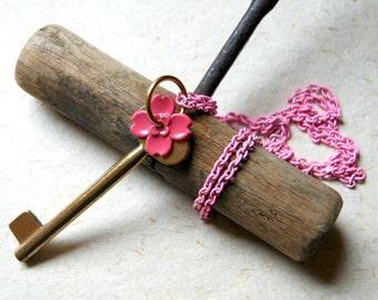 Vintage Brass Skeleton Key Necklace with Pink Enameled Flower and Chain - Secret Garden Key - Garden Gate Key - Garden Inspired