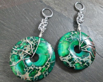 Decorative Ear Weights - Gemstone Donuts - Gemstone Earrings for Stretched Lobes - Green Jasper - Earrings for Tunnels