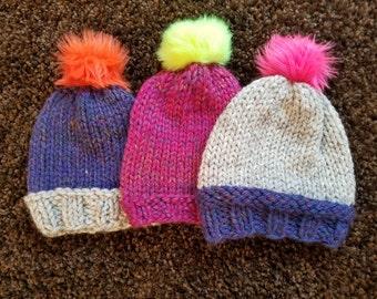 Chunky-Knit Winter Hat - Fuchsia With Bright Yellow Pom-Pom