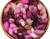 Mulberry Wine - hand-dyed Merino wool and Silk (4 oz.) painted combed top