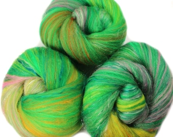 Philodendron- classic batts -- (4 oz.) organic polwarth wool, bamboo, silk, sparkle.