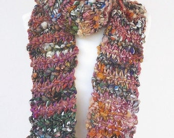 Handknit extra long scarf made with handspun luxury yarn - READY TO SHIP