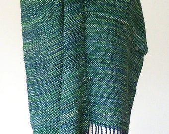 Hand woven scarf shawl made with handspun luxury yarn - READY TO SHIP