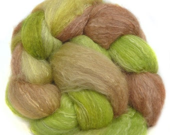 BFL CAMEL SOYSILK handdyed wool roving top spinning fiber 3.6 oz