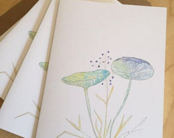 Watercolor Blank Note Cards - Blue Mushrooms - Blue Mushroom Note Cards - Watercolor Botanical Note Cards - Set of 6