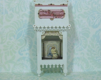 Fancy Miniature Toy Theater Vignette in Pale Sage with Cat