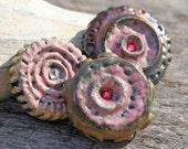 Handmade RAKU Set of Three Buttons