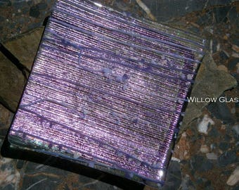 Dichroic Glass Tray, Purple Dichroic Glass Trinket Dish, 25% off Home Decor, Willow Glass, OOAK