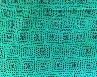 Four Dollar Cotton Fabric Destash! Michael Miller Stitch Square Bottle Green and Navy