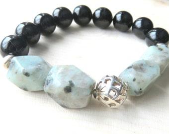 Kiwi Jasper Beaded Bracelet, Sesame Jasper Stretch Bracelet, Round Beaded Fashion Bracelet, Gemstone Jewelry, Gift for Her