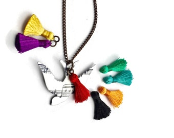 Music|Gift|For|Women|Jewelry|Gift|Unique|Necklace|Song Bird Pendant|For|Student|Sis|Daughter|Teacher|Bridesmaids|BFF|Graduation|She Believed