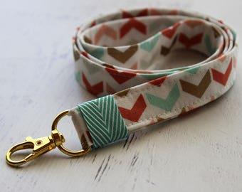 Arrows print lanyard - cute lanyard - teachers lanyard - key fob lanyard - key holder - mint lanyard - coral lanyard - fabric lanyard