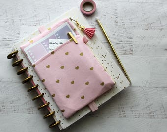 Pink planner cover band - pink planner pouch - planner sticker holder - pocket planner pouch - gold hearts print - pink planner bag
