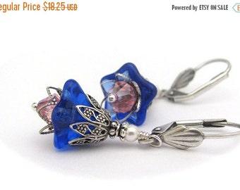 Blue Flower Earrings, Rose PInk Swarovski Crystals, Antiqued Silvertone Dangles, Hawaii Flowers, Cobalt Blue, Clip On Earrings Available
